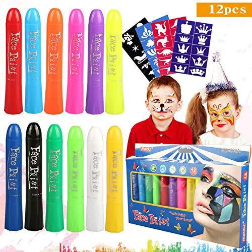 (Buluri Gesichtsfarbe für Kinder, 12 Farben Gesicht Körper Malerei Kits Sicher und Ungültig Professionelle Schminke Sets mit 40 Schablonen, perfekt für Karneval, Ostern, Cosplay, Mottopartys (12 colors))