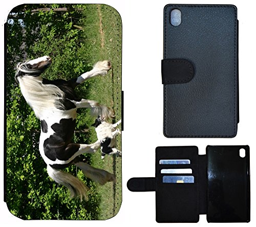 Schutz Hülle Flip Cover Handy Tasche Etui Case für (Apple iPhone 5 / 5s, 1184 Affe Gorilla Schwarz Braun) 1189 Pferd Hund Schwarz Weiß Grün