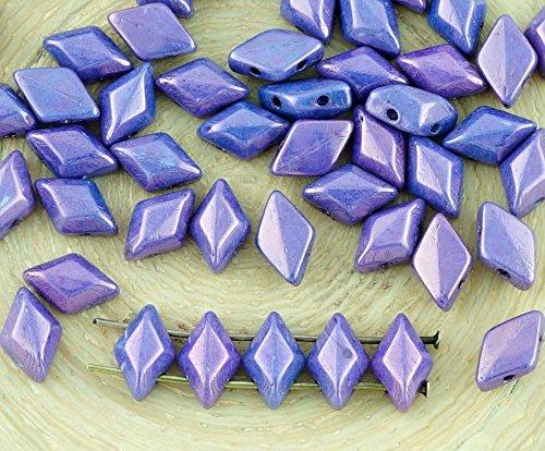 60pcs Chalk Lila Vega Luster Matubo GemDuo Rhombus Diamant-Zwei 2-Loch-Tschechische Glas-Perlen-Edelstein-Duo 8mm x 5mm (Edelstein-las Vegas)