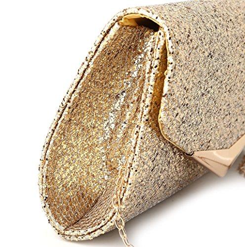 Dairyshop pochette giorno donne borsa da sposa della frizione nuziale partito frizione cerimonia nuziale promenade (Nero) Oro