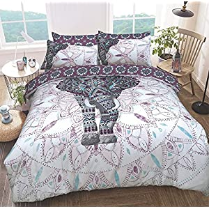 Sleepdown Elephant Mandala Purple Bed Reversable Quilt Duvet Cover Set Easy Care Anti-Allergic Soft & Smooth with Pillow Cases (King Size)