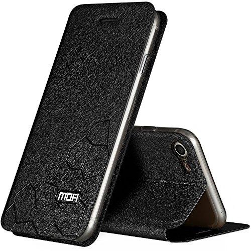 Schwarz Fußball Stil PU-Leder Hülle Flip Case TPU Silikon Zurück Schutzhülle Cover + Displayschutzfolie für Apple iPhone 7 Vooway® MA00311 Schwarz
