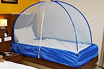OnlineTree Polyester Foldable Single Bed Mosquito Net (Blue, 6x3)