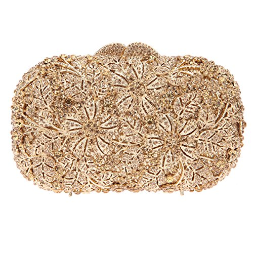 Bonjanvye Shining Rhinestone Flower Purse for Party Wedding Clutch Bags for Ladies Multicolor Smoky yellow