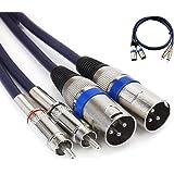 Double XLR mâle vers RCA mâle, 2 XLR vers 2 RCA/Phono Plug câble Audio HiFi stéréo Audio connecteur de câble pour câble de Mi