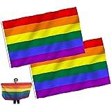 JZZJ Pack de 2 banderas del orgullo gay, arco iris, 150 x 90 cm