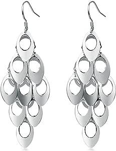 Argento 925 pavone ciondola goccia lunghi orecchini lampadario Cocktail Party lineare orecchini gioielli da sposa