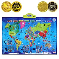 BEST LEARNING i-Poster My World Interactive Map - Educational Talking Toy for Boys and Girls Ages 5 to 12 Years Old for Kids
