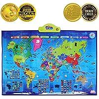 BEST LEARNING i-Poster mi mapa interactivo del mundo - juguete educativo parlante para niños y niñas de 5 a 12 años de edad (Versión en inglés)