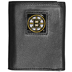NHL Boston Bruins Deluxe Leather Tri-Fold Wallet Packaged in Gift Box, Black