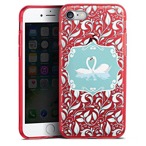 Apple iPhone 8 Silikon Hülle Case Schutzhülle Schwäne Love ohne Hintergrund Silikon Colour Case rot