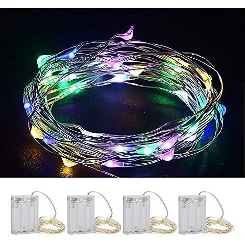 [4 Packs] HanLuckyStars 2M 20 LED Luces de Cadena de Cable Cobre Impermeable Guirnaldas de Cable Cobre, Decoración para Navidad Boda Fiesta Terreza Jardín Halloween Exterior Interior