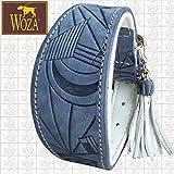 Woza Premium Windhund Halsband 6,3/42CM Picasso Lederquaste Vollleder Jeans Blau Rindnappaleder Weiß Handmade Greyhound Collar