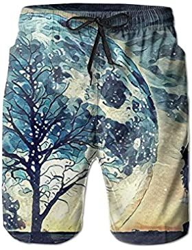 Howling Wolf Moon Men's/Boys Casual Swim Trunks Short Elastic Waist Beach Pants with Pockets
