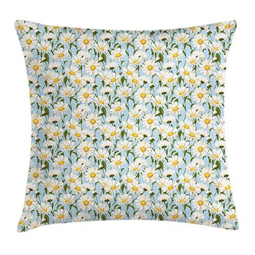 Jxrodekz Daisy Throw Pillow Kissenbezug, Kamillenblüten Garten Frühling Laub Ernte Hof Shabby Muster, dekorative quadratische gem -