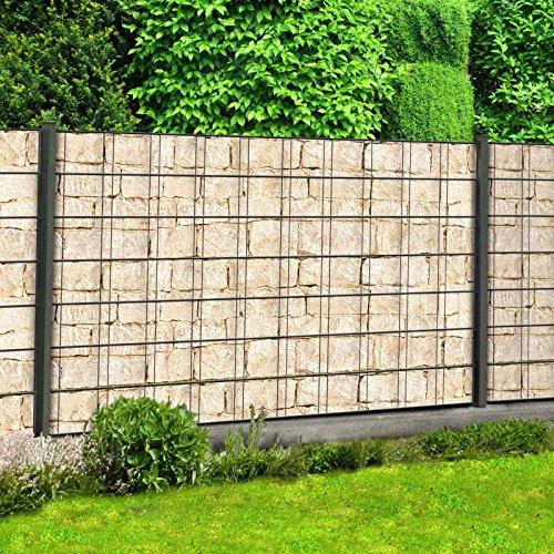 Sichtschutzstreifen mit Motiv/M-Tec Print/PVC / Sandsteinmauer ✔ für 9 Reihen im Zaunfeld ✔ inkl. 18 Klemmschienen – Sie KAUFEN Hier DIREKT Beim Hersteller –