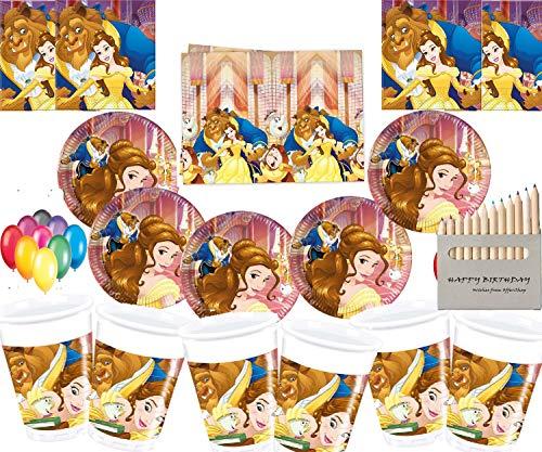 Disney Die Schöne und Das Biest Party Dekoration Geschirr Teller Tassen Servietten Tischdecke Kostenlose Luftballons Freier Messing Bilderrahmen-16 Gäste (Und Das Servietten Die Schöne Biest)