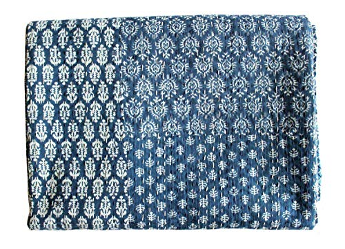 Mango Gifts Indigo Color Hand Block Printed Kantha Quilt, Twin Size Patchwork Cotton Bedspread, Made By Artisans of India 60 X 90 Approx Inches by Mango Gifts -