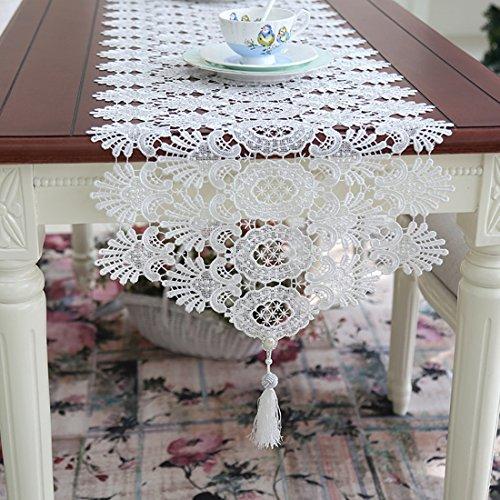 Ethomes Spitze Weiß Handgefertigt Stickerei Hohl Tischläufer mit Quaste für Tischdekoration 150cm