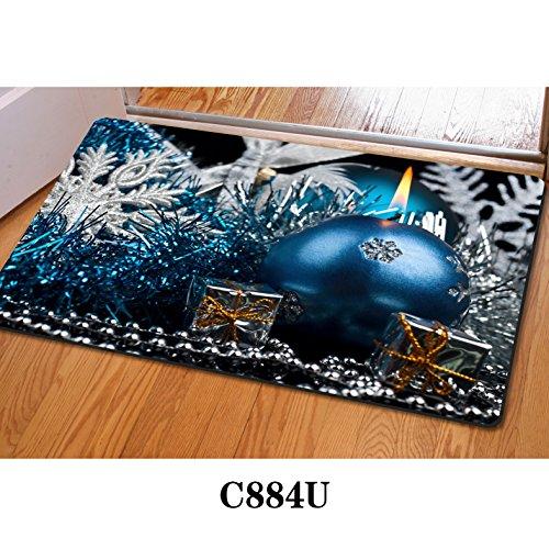 Filz Fußmatte Weihnachten Eiskristall Türmatte Badematte Rutschfest Badvorleger Weich Badteppich Personalisierte Sauberlaufmatte Duschvorleger für Badezimmer C884 40X60CM