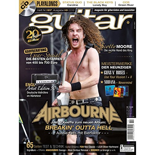 Guitar 10 2016 mit CD - Airbourne - Interviews - Gitarre Workshops - Gitarre Playalongs - Gitarre Test und Technik