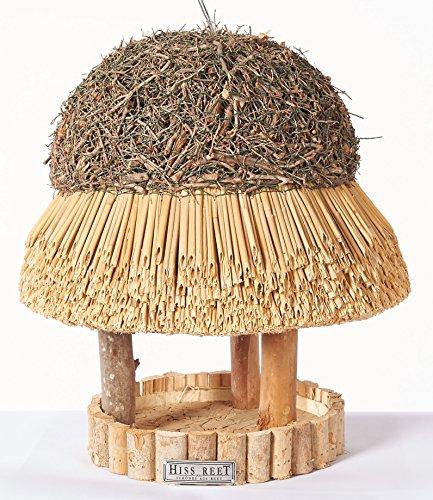 Vogelhaus mit Reetdach Futterhaus Futterstation -30 cm- traditionell eingedeckt