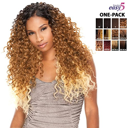 [3 Wefts Complete Set] Sensationnel NATURAL BOHEMIAN-EASY 5 (KANUBIA-HRF) - Weave One Pack Solution - Brazilian Hair Curl Patterns - Braid / Weave Extension (1B (natural black))