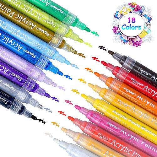 Acrylstifte Marker Stifte, 18 Farben Premium Wasserfest Paint Marker Set Art Filzstift Acrylic Painter für Glasmalerei,Garten, Papier, Metall, Stoffmalerei, Fotoalbum und DIY-Handwerk -