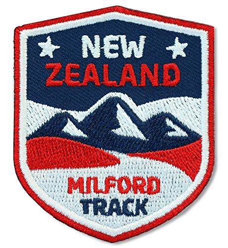 2 x Neuseeland Abzeichen 51 x 60 mm gestickt / Milford Track, New Zealand / Aufnäher Aufbügler Sticker Flicken Patch / National Park Reise Wandern Outdoor Klettern Touren Reiseführer Wanderführer