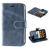 Mulbess Ledertasche im Ständer Book Case / Kartenfach für Samsung Galaxy XCover 3 Tasche Hülle Leder Etui,Dunkelblau