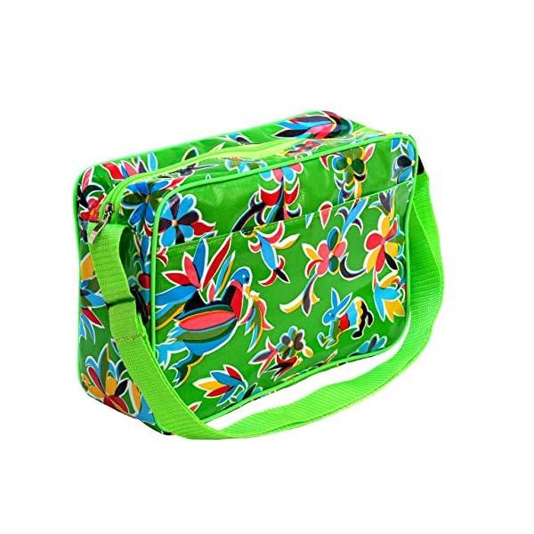 IKURI Multi-Functional Bag - Small Shoulder Waterproof Bag for Women Messenger Bag Handbag with Vintage Pattern Crossbody - Design Oaxaca in Green - handmade-bags