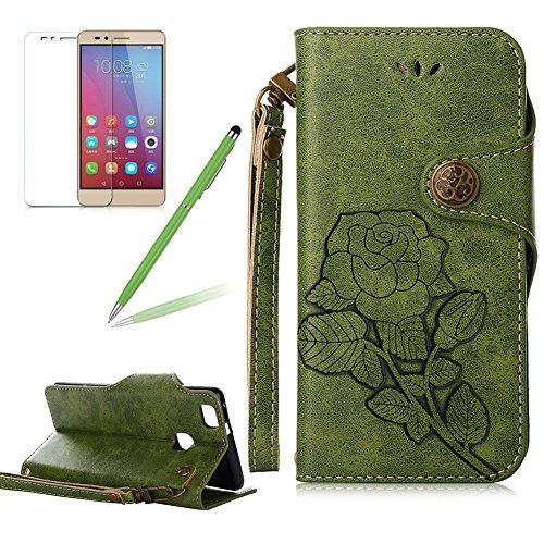 Girlyard Lederhülle für Huawei P9 Lite Wallet Flip Case, Elegant Blumen Retro Floral Muster Design Schutzhülle mit Lanyard Strap Handyhülle Standfunktion Karteneinschub und Magnetverschluß Etui -- Grün