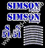 Simson Aufkleber 12 Teile - Tank (re. + li.) , Seitendeckel (re. + li.) Felge (8 x)