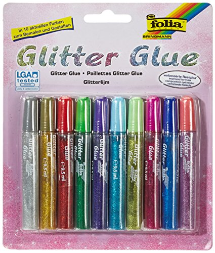 folia Glitter Glue, 10 x 9,5 ml, in 10 Farben