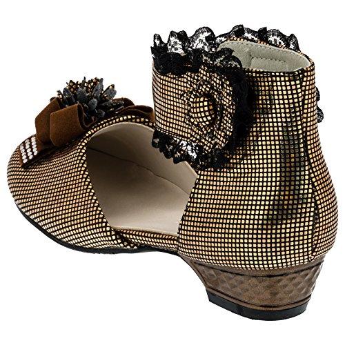 Mädchen Ballerina Kinder Schuhe mit Blume #668 Schwarz