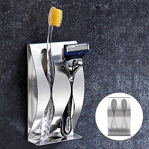 Edelstahl Zahnbürste Rasierer Halter - Paar Zahnbürstenhalter mit Wand montiert Selbstklebstoff für Bad Zubehör Organizer (2 Haken)