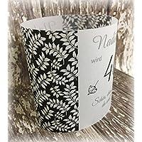 4er Set Tischlicht Tischlichter Blätter runder Geburtstag 40 50 60 70 80 90 Tischdeko personalisierbar schwarz weiß