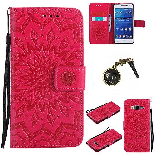 Preisvergleich Produktbild für Galaxy Grand Prime/SM-G530 G531F Hülle, Klappetui Flip Cover Tasche Leder [Kartenfächer] Schutzhülle Lederbrieftasche Executive Design (+Staubstecker ) (3)