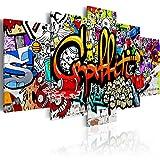 B&D XXL murando Impression sur Toile intissee 100x50 cm 5 Parties Tableau Tableaux Decoration Murale Photo Image Artistique Photographie Graphique Graffiti i-A-0103-b-n
