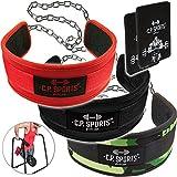 Dip-Gürtel Standard Gürtel für Zusätzliches Gewicht bei Klimmzügen & Dips – C.P.Sports inkl. Griffpolster 3mm (rot)