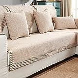 HM&DX Baumwolle Knitted Sofa Abdeckung Sofa Überwurf Multi-Size Anti-rutsch Schmutzresistent Einfarbig Sofahusse Für sektiona