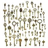 Hysagtek 70pz vintage Skeleton Keys Antique Keys charm pendente accessori per creazione gioielli artigianato fai da te collane bracciali pendente, confezione mista, bronzo