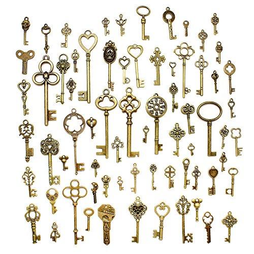 hysagtek 70pcs Vintage de teclas de esqueleto antiguo llaves encanto colgantes Set Accesorios para bisutería manualidades DIY para collares pulseras colgantes, Unidades, varios colores), bronce