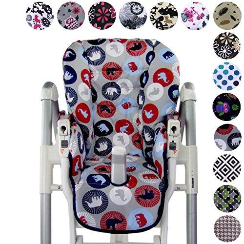 Babys-Dreams Sitzkissen Ersatzbezug für Peg Perego Prima Pappa Diner *20 FARBEN* NEU (Marine Elefanten) (Perego 30 30)