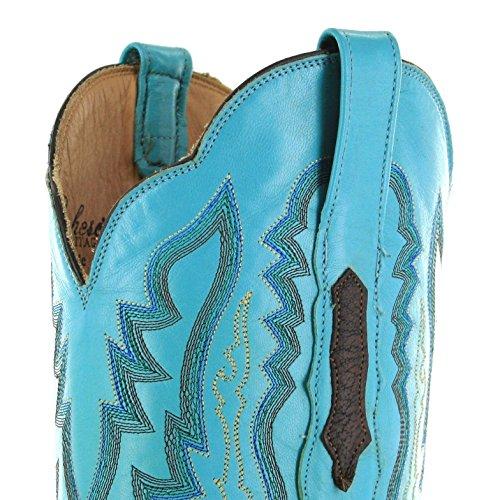 Lucchese Susana Femme Bottes Western Bottes d'équitation Multicolore - Chocolate Blue