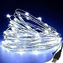 Bloomwin Guirnaldas Luminosas Cadena de luces 10M 100LED USB Resistente al agua para Adornos Boda Ceremonia árbol de Navidad Fiesta Jardín Exterior Interior