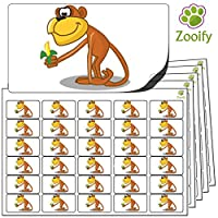 480x Monkey Stickers (38 x 21mm) High Quality Self Adhesive Animal Labels By Zooify.