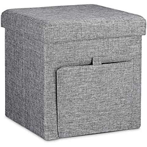 Relaxdays – Banco/Asiento con espacio de almacenamiento con puerta lateral hecho de tela con medidas 38 x 38 x 38 cm y con capacidad de 40 L, color