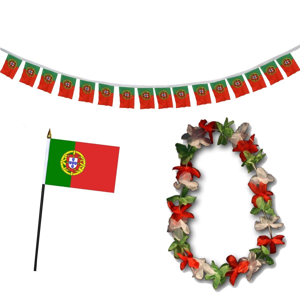 Sonia Originelli Fan-Paket-9 WM EM Fußball Fan Girlande Mini Flagge Hawaiikette