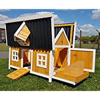 Large Chicken House Chicken Coop Hen House Ark Poultry Run Nest Box Rabbit Hutch Suitable For 3-4 Birds - Internal secure removable nest box & Cleaning Tray - adjustable high or low perches …